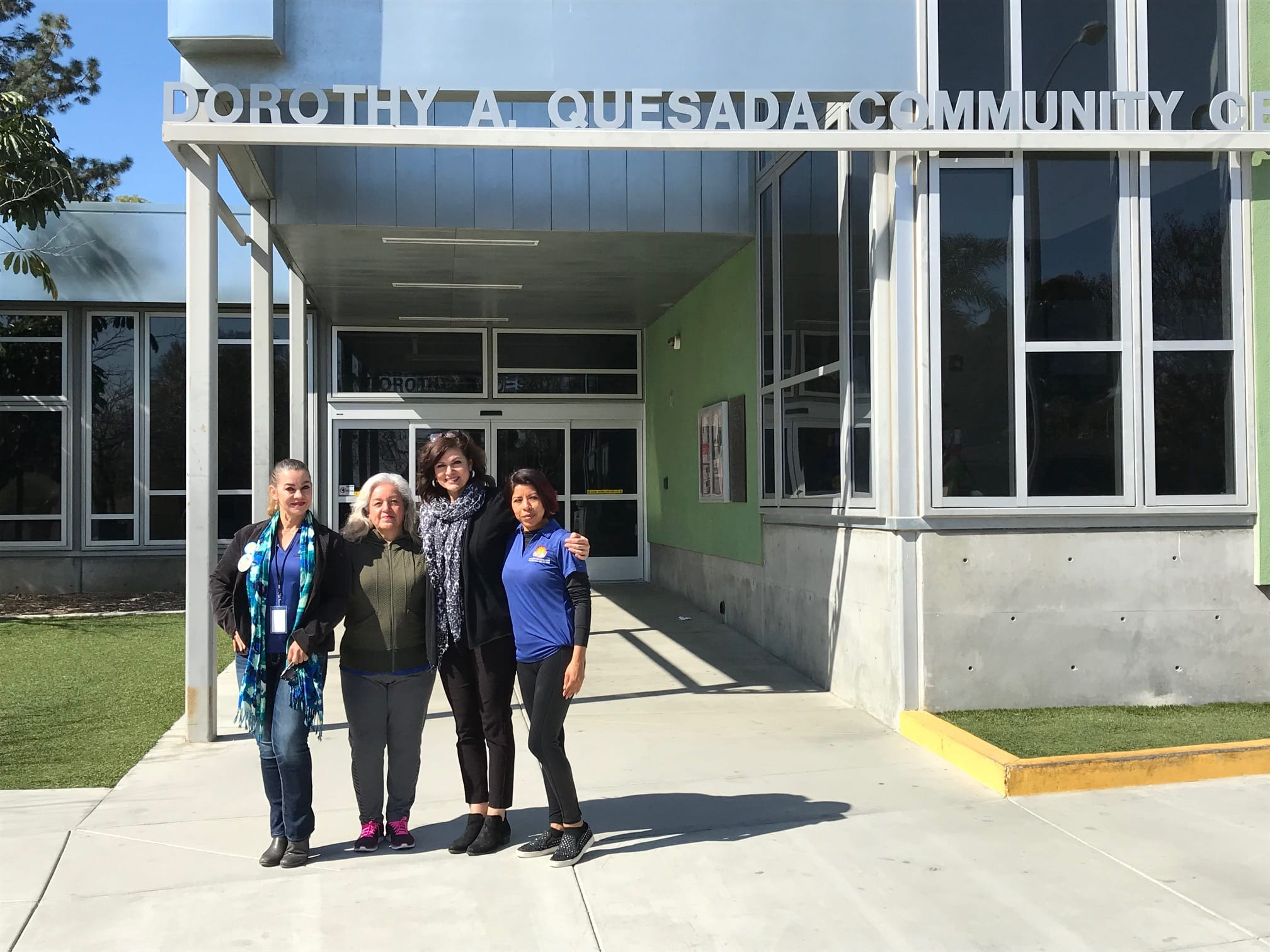 Community members Nora Beltran, Rosario Santillan, and Rosalba Martinez, along with Christina Munoz, senior supervisor, Dorothy A. Quesada Community Center (third from left), all play an active role in the Ontario HEAL Zone